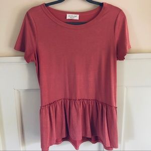 Coral Pink Short Sleeve Top